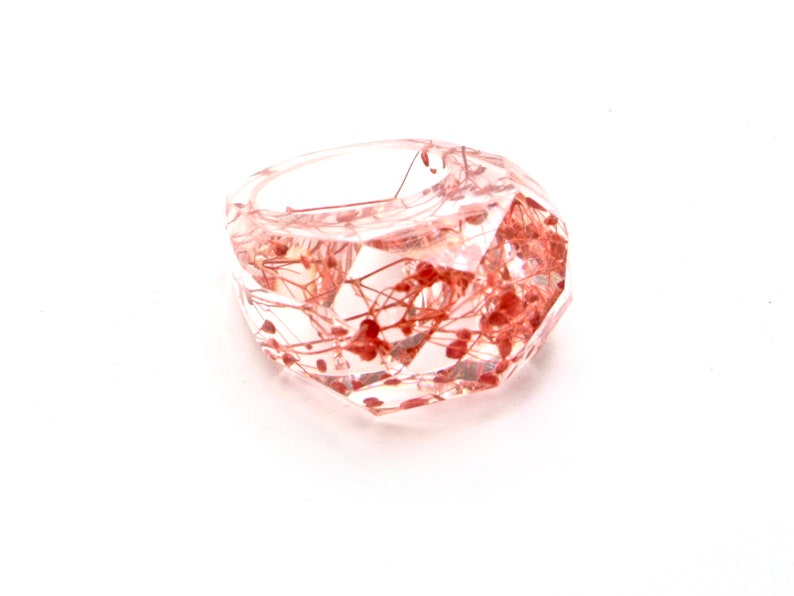 pressed flowers flowers resin ring Resin ring red flowers Statement ring resin rings for women Modern jewelry Clear flowers ring