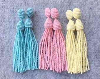 Beaded Tassel Clip-On Earrings Pastel Powder Colors Blue Pink Yellow