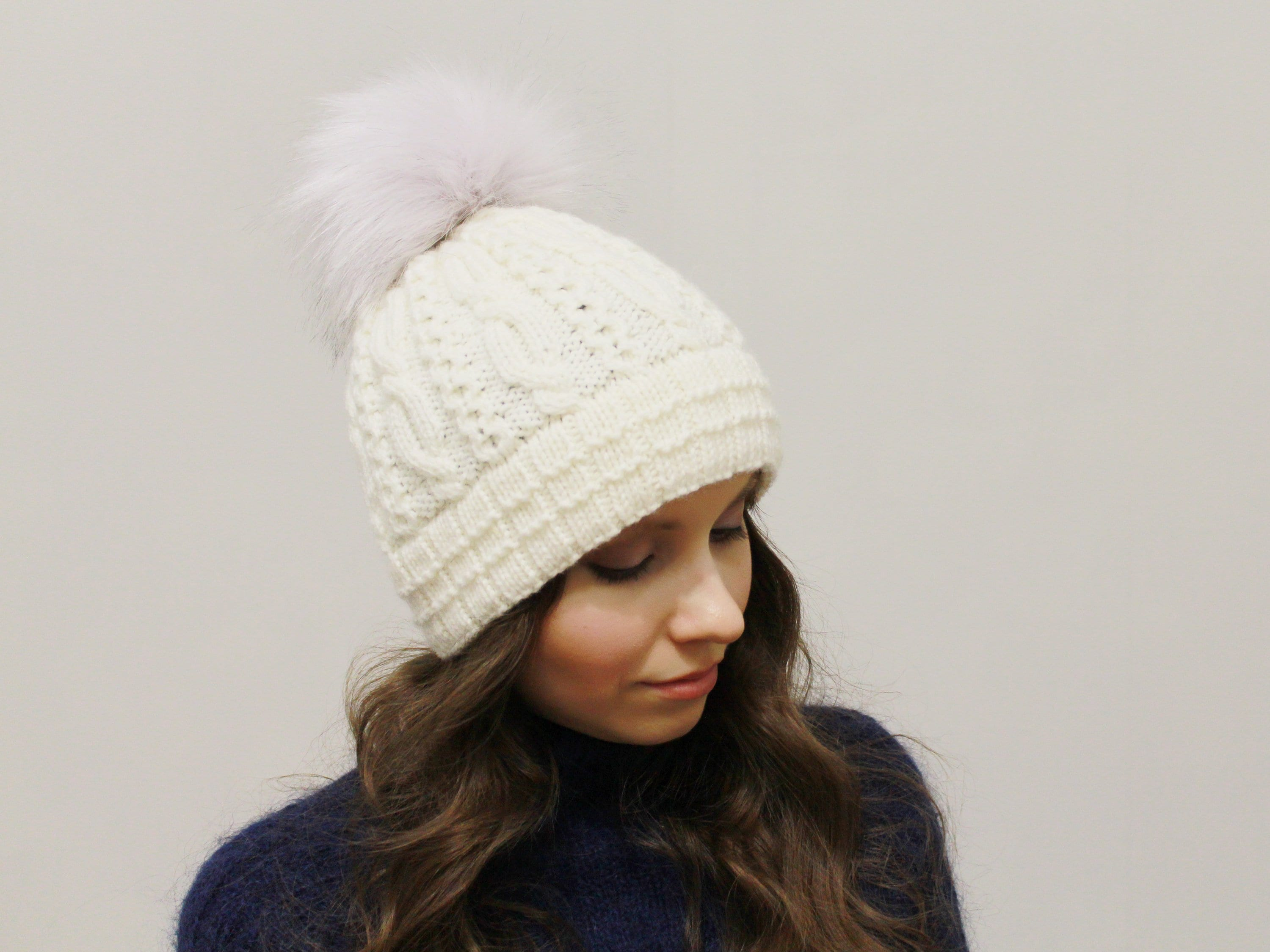 Hand Knit Creme Merino wool hat with faux fur pom pom women  e769b848072