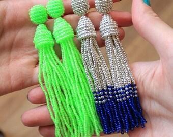 Beaded Tassel Clip-On Earrings Neon Lime