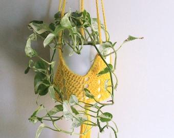 Crochet planter, indoor hanging garden, yellow hanging planter, crochet home decor, plant hanging holder, indoor decor, succulent planter