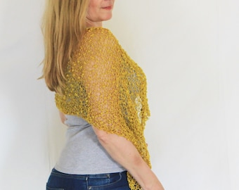 Mustard poncho, summer poncho, very light poncho, cotton poncho, summer wrap, summer knit, beach cover up, loose knit poncho, Eudora