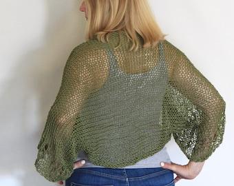Summer shrug, military olive shrug, loose knit shrug, summer knit, green bolero, green cotton shrug, cotton bolero, green crop cardigan