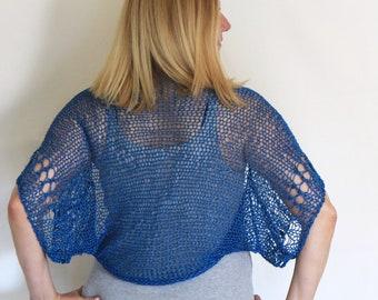 Classic blue shrug, loose knit shrug, summer shrug, summer knit, classic blue bolero, blue cotton shrug, cotton bolero, blue crop cardigan