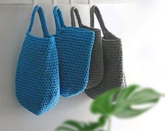 Storage basket, crochet basket, wall hanging basket, home organisation, housewarming gift, cotton basket, bathroom storage, kitchen storage