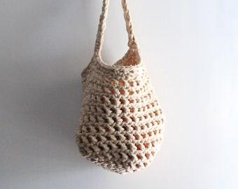 Beige fruit basket, storage basket, hanging fruit holder, vegetable basket, veggies storage, wall hanging basket, farmhouse decor