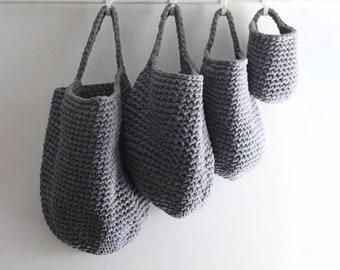 Wall hanging basket, storage basket, crochet basket, cotton basket, home organisation, nursery storage, kitchen storage, bathroom storage