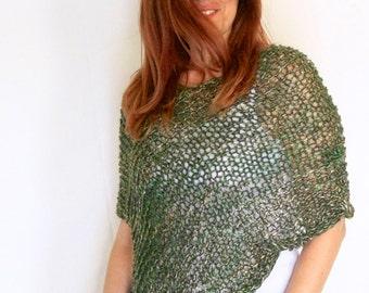 Green poncho, loose knit poncho, scallop poncho, wrap sweater, handknit wrap, light poncho, Eudora Scallop, ready to ship