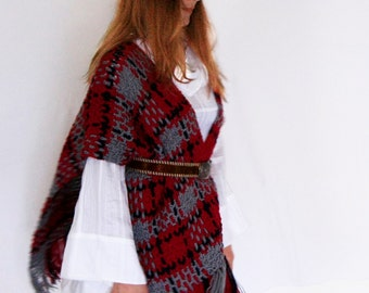 Boho poncho, blanket poncho, plaid fringe poncho, crochet weave poncho, plaid fringe wrap, poncho in burgundy grey blue