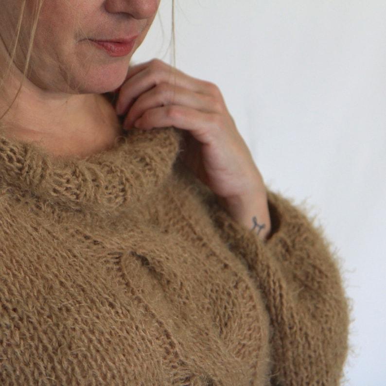 Beige sweater handknit sweater cable sweater women sweater loose knit sweater winter fashion soft beige sweater mohair-like sweater