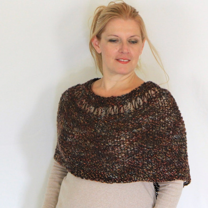 cf3f0fc209 Brown poncho wrap sweater handknit wrap loose knit poncho