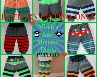 Knit PATTERN, Mindy's Knit Monster Pants PATTERN