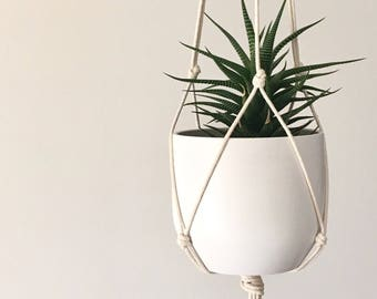 Minimalist modern macrame plant hanger for medium sized pots - add your own pot