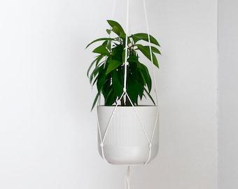 Macrame Plant Hanger, minimalist cotton hanger for small pots
