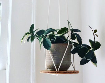 Plant Hanger Shelf,  recycled bamboo and canadian cotton, three sizes