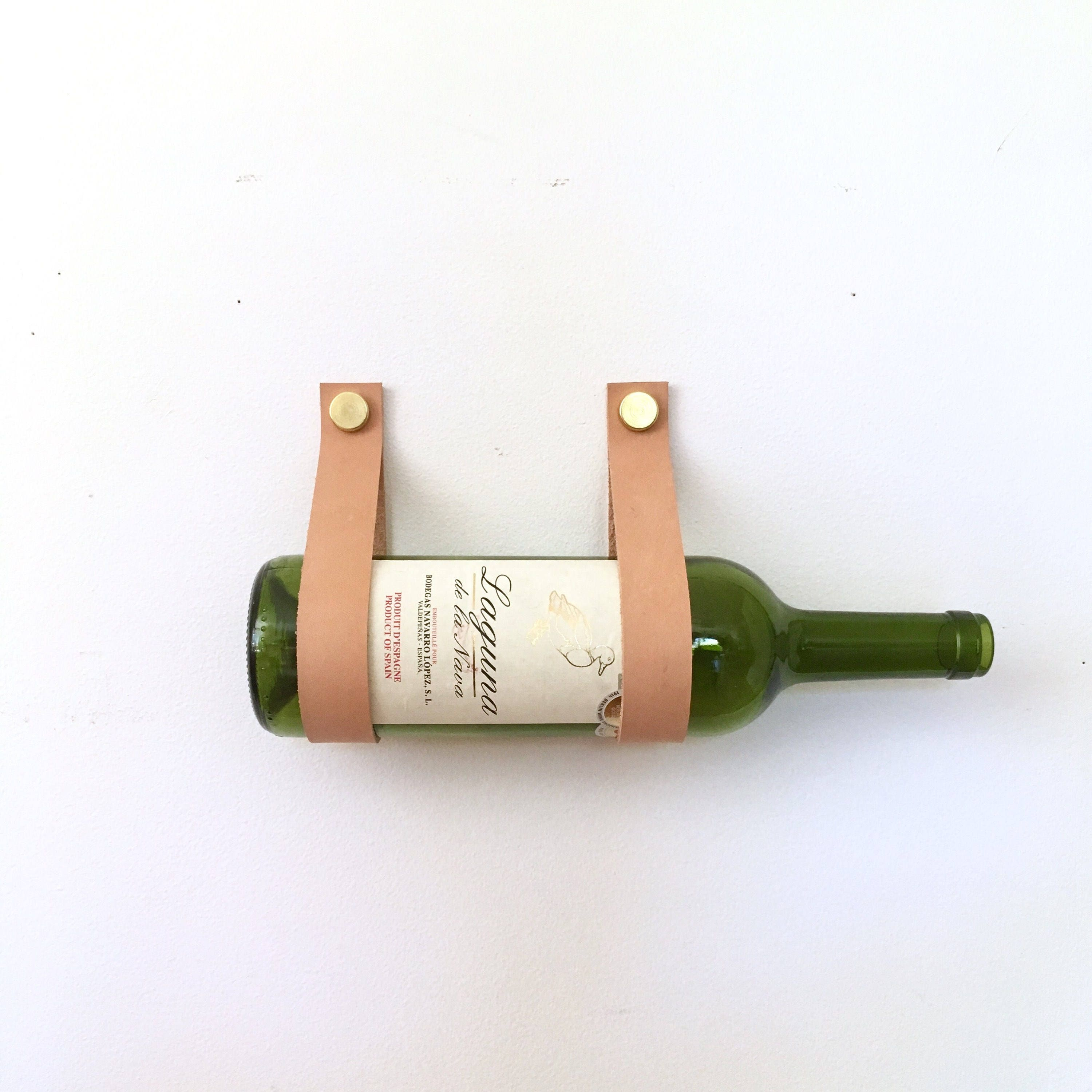 Leather Wall Equipment Holder: Wine Straps Leather And Brass Wall Mount Wine Holder And
