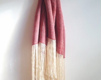 Weaving 001 - Hollyberry Red Wool Shawl Scarf Couch Throw Blanket