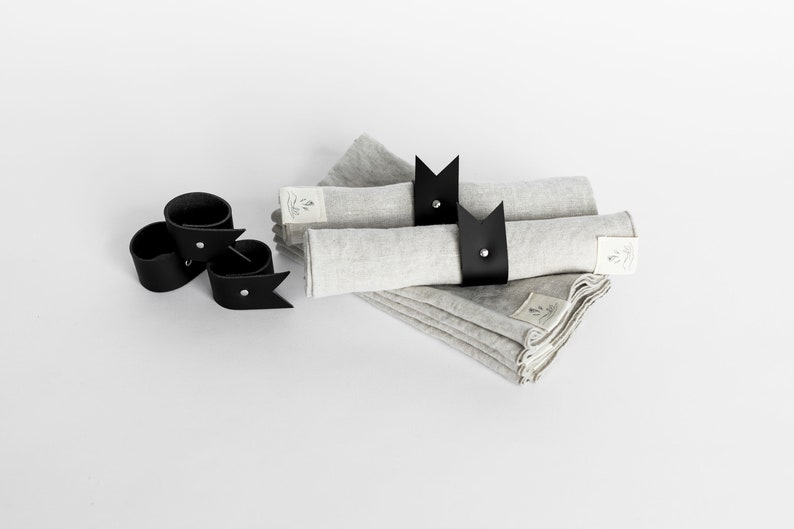 Mitsou x Etsy  Napkin Rings in Black Leather image 0