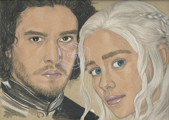 Jon Snow And Daenerys Targaryen Game Of Thrones Drawing Etsy