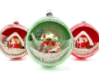 jumbo vintage glass diorama christmas ornaments 1950s christmas decorations japan baubles - Etsy Christmas Decorations
