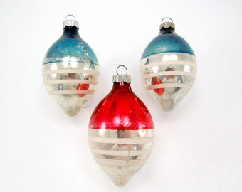 Vintage Shiny Brite Christmas Decorations Striped Glass Christmas Ornaments 1950s Baubles Patriotic