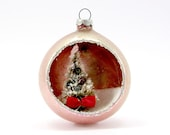 Pink Vintage Glass Diorama Christmas Ornament 1960s Tree Christmas Decoration, Retro Kitsch Japan Bauble