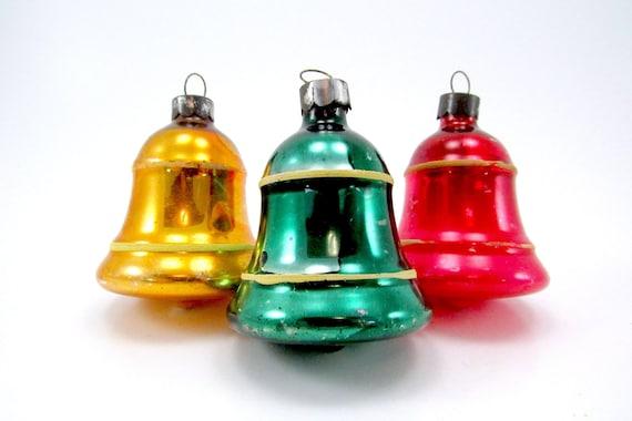 1930s Striped Bells Vintage Glass Premier Christmas Ornaments Christmas Decorations Vintage Baubles