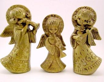 Plaster Angel Christmas Holiday Decorations Bronze Set Of Three