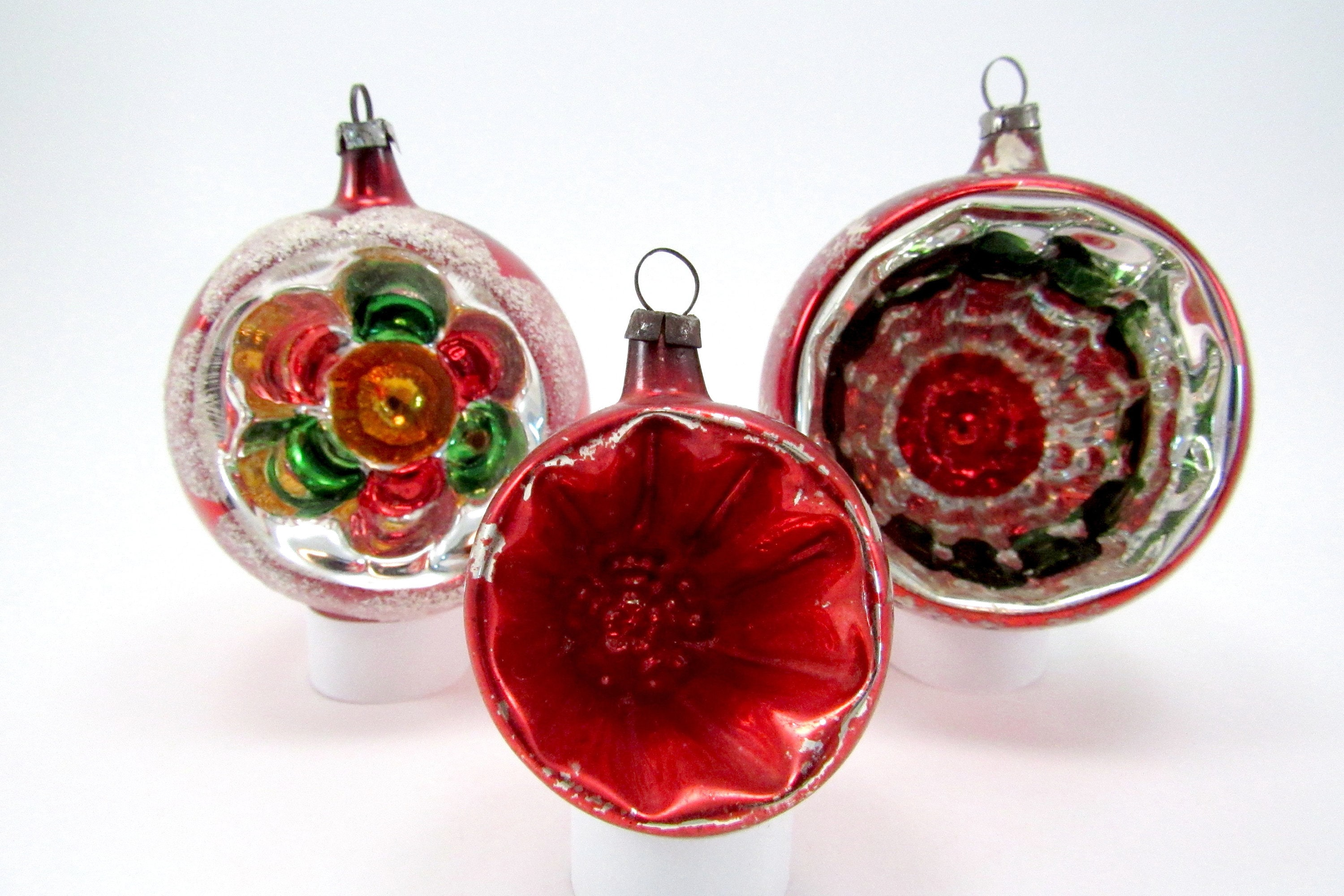Vintage Reflector Christmas Ornaments Indented Glass ...
