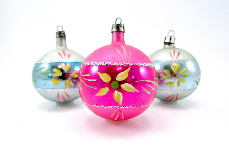 Vintage Glass Christmas Ornaments Poland Christmas Decorations Mouth Blown Hand Painted Baubles Blue Pink