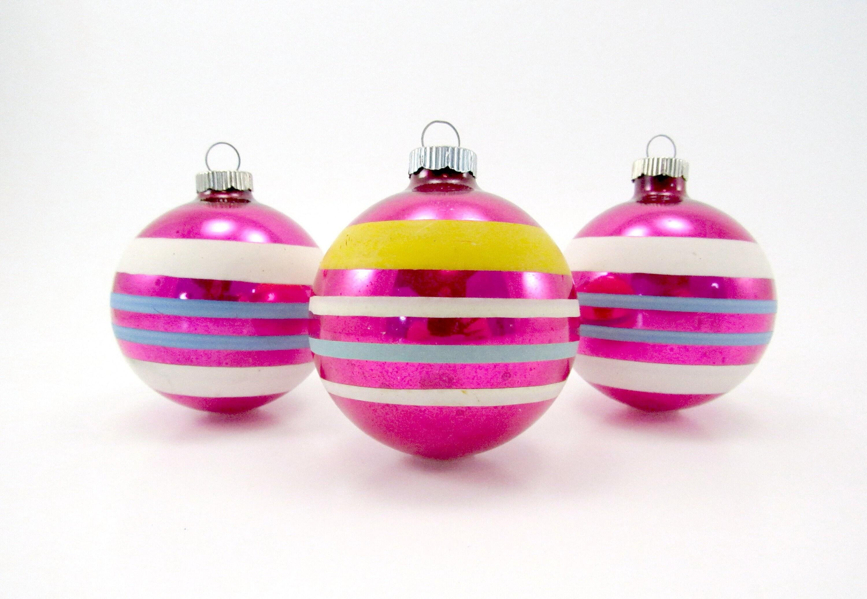 Vintage Shiny Brite Christmas Ornaments 1950s Glass