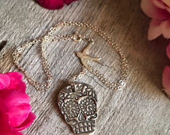 Flower Sugar Skull Necklace