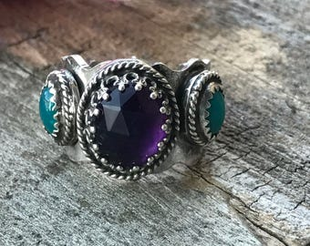 Lacey Ring - Amethyst and Chrysocolla