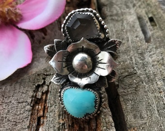 Darling Ring - Blue Moon Turquoise and Crystal Quartz