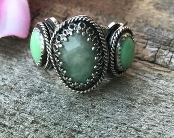 Lacey Ring - Emerald and Kingman Turquoise