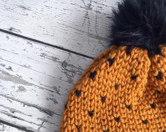 Womens Beanie, Women's Fair Isle Pom Hat, Faux Fur Pom Hat, Crochet Beanie, Womens Winter Hat, Ready to Ship
