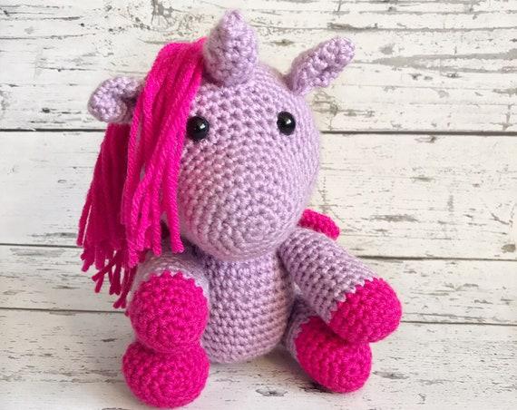 Lavender the Unicorn, Crochet Unicorn, Ready to Ship