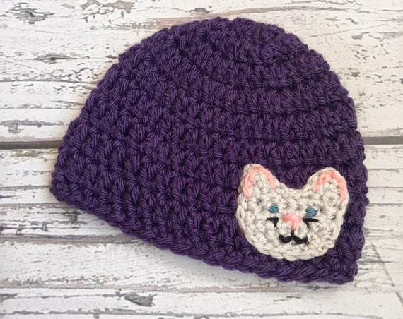 Kitty Hat, Crochet Cat Hat, Children's Hat, Ready to Ship