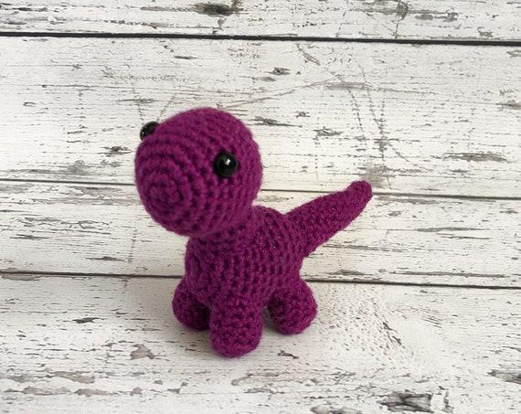 Tiny the Mini Brontosaurus, Crochet Dinosaur Stuffed Animal, Plush Animal, Dinosaur Stuffed Toy, Ready to Ship