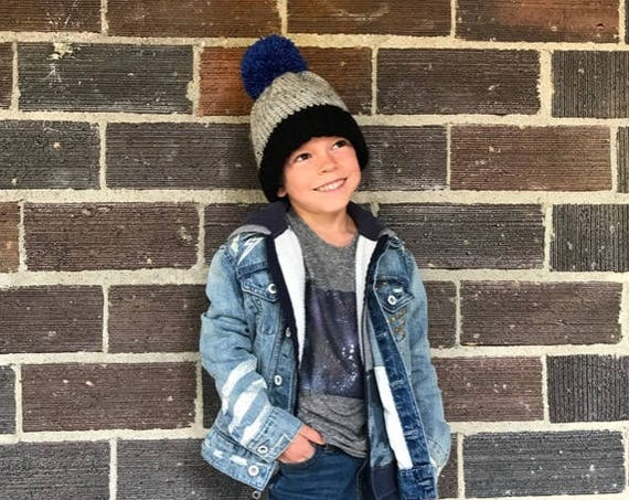The Frankie Beanie with Pom ~ Kid Sizes, Made to Order