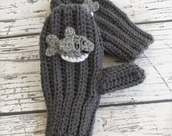 Shark Mittens, Crochet Shark Animal Mittens, Children's Mittens, Made to Order