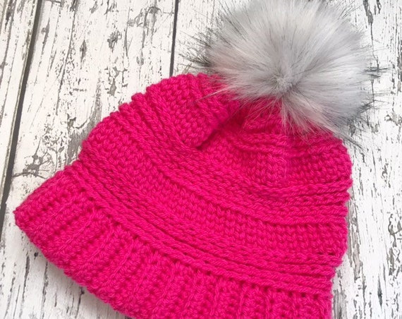 The Lola Beanie, Women's Faux Fur Pom Hat, Crochet Pom Hat, Crochet Beanie, Womens Winter Hat, Ready to Ship
