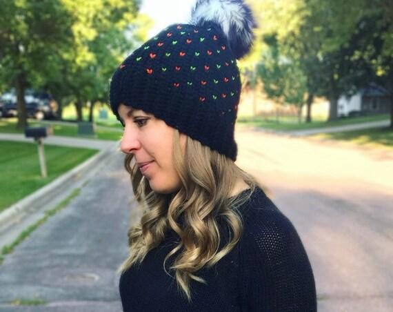 Womens Halloween Beanie, Women's Fair Isle Pom Hat, Faux Fur Pom Hat, Crochet Beanie, Womens Winter Hat, Ready to Ship