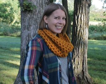 Crochet Cowl, Crocheted Scarf, Crochet Infinity Scarf, Chunky Winter Scarf, Made to Order