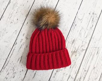 de25d279c1b The Classic Brim Beanie Women s Faux Fur Pom Hat