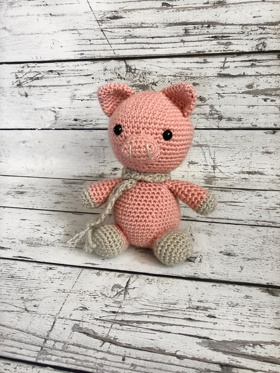 Bacon the Pig, Crochet Pig, Ready to Ship
