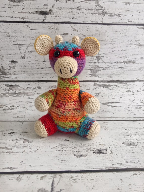 Minnie the Giraffe, Crochet Rainbow Giraffe Stuffed Animal, Giraffe Amigurumi, Plush Animal, Ready to Ship