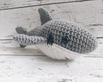 Sasha the Shark, Crochet Shark Stuffed Animal, Shark Amigurumi, Plush Animal, MADE to ORDER