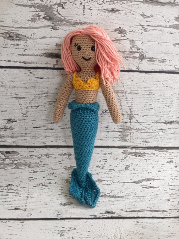 Mini Toy Mermaid, Crochet Mermaid Stuffed Animal, Mermaid Amigurumi, Plush Animal, Ready to Ship