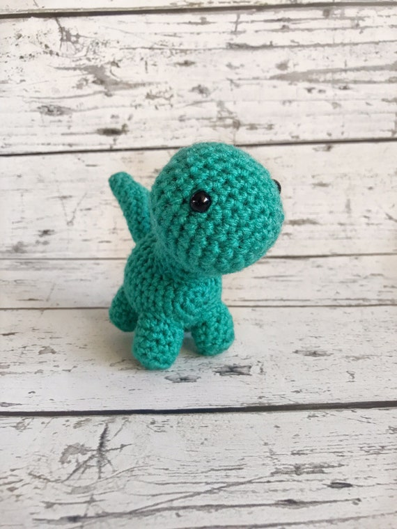 Tiny the Mini Brontosaurus, Crochet Dinosaur Stuffed Animal, Plush Animal, Dinosaur Stuffed Toy, Ready to Ship